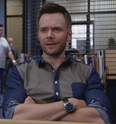 Jeff's denim and khaki colorblock shirt on Community