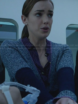 Jemma's speckled blue cardigan with pink trim on Agents of SHIELD