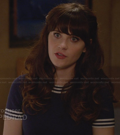 Jess's blue striped trim top on New girl