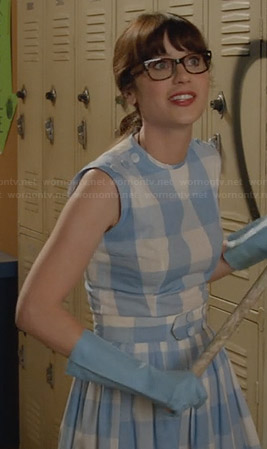 Jess's blue gingham checked dress on New Girl