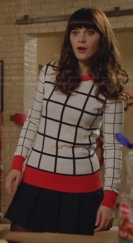 Jess's white grid check sweater on New Girl