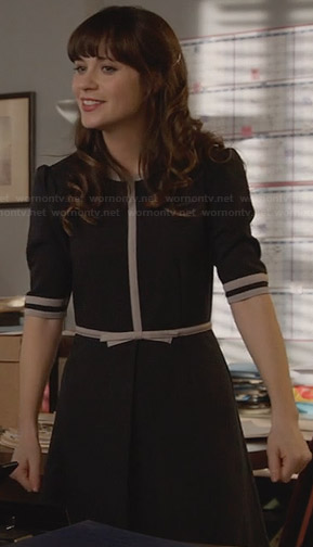 Jess's navy blue dress with white trim on New Girl