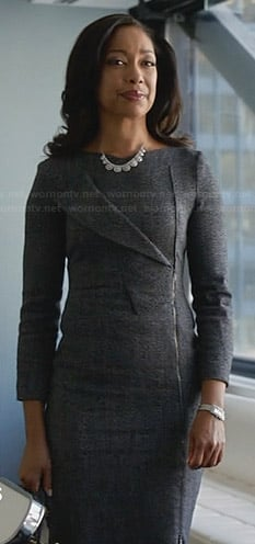 Jessica's grey long sleeved dress with zip and fold front on Suits