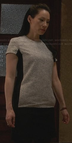 Joan's grey and black t-shirt dress on Elementary