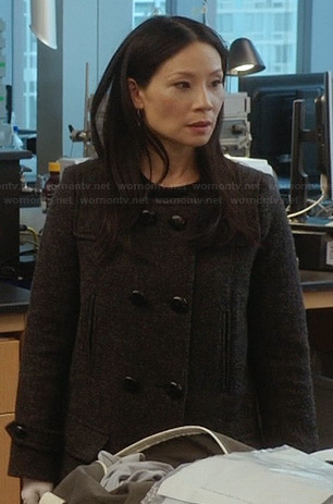 Joan's grey double breasted coat on Elementary