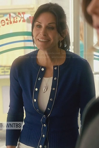 Jules's blue cardigan with metal trim on Cougar Town