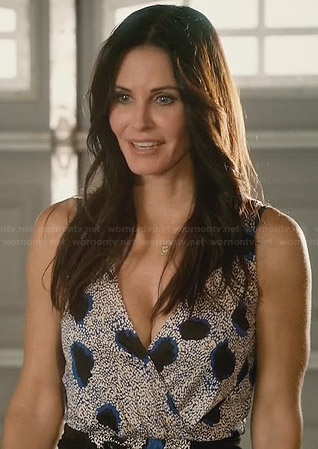 Jules's blue printed wrap dress on Cougar town