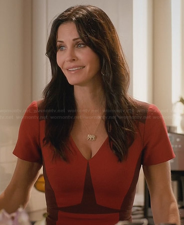 Jules's red colorblocked dress on Cougar Town