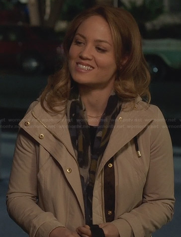 Julia's beige hooded parka jacket on Parenthood