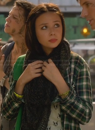 Emery's leopard print dress, green jacket and chevron necklace on Star-Crossed