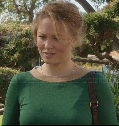 Julia's green sweater with beige trim and bow back on Parenthood