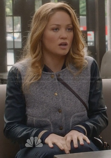 Julia's bomber jacket with blue leather sleeves on Parenthood
