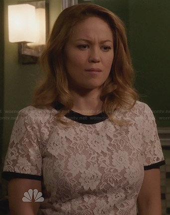 Julia's black and white mixed lace dress on Parenthood