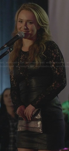 Juliette's black leather and lace dress on Nashville
