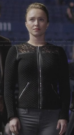 Juliette's black quilted jacket with lace panels on Nashville