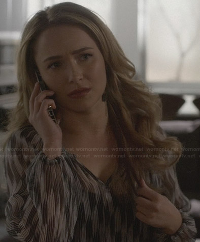 Juliette's black and white sheer print blouse on Nashville