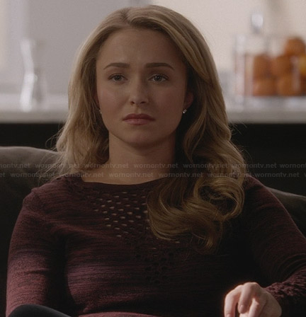 Juliette's burgundy perforated sweater on Nashville