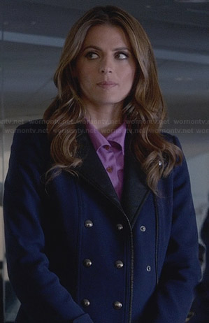 Kate's blue coat with leather collar on Castle