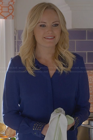 Kate's blue blouse with studded collar and cuffs on Trophy Wife