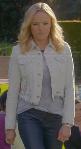 Kate's frayed denim jacket on Trophy Wife