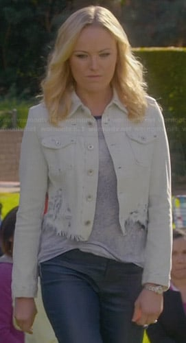 Kate's frayed back denim jacket on Trophy Wife