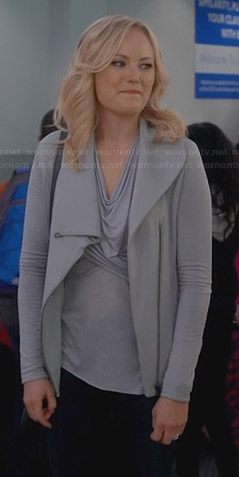 Kate's grey draped front jacket on Trophy Wife