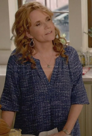 Kathryn's blue printed blouse on Switched at Birth