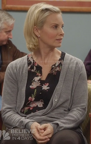 Kristina's black floral button front blouse on Parenthood