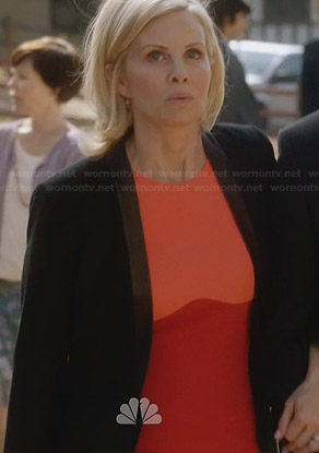 Kristina's orange colorblock dress on Parenthood