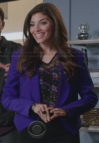 Lauren's floral lace top and purple blazer on The Crazy Ones