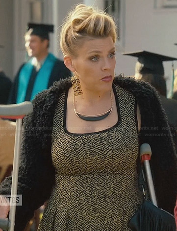 Laurie's yellow and black printed dress and fur bolero on Cougar Town