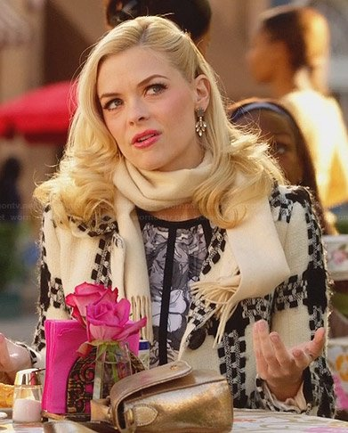 Lemon's cream and black patterned coat on Hart of Dixie