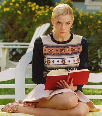 Lemon's embellished stripe sweater on Hart of Dixie