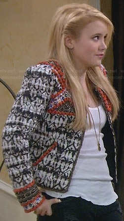 Lennox's black white and red patterned jacket on Melissa & Joey