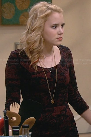 Lennox's black and burgundy patterned dress on Melissa and Joey