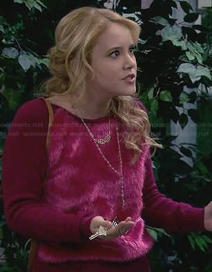 Lennox's pink fur front sweater on Melissa and Joey