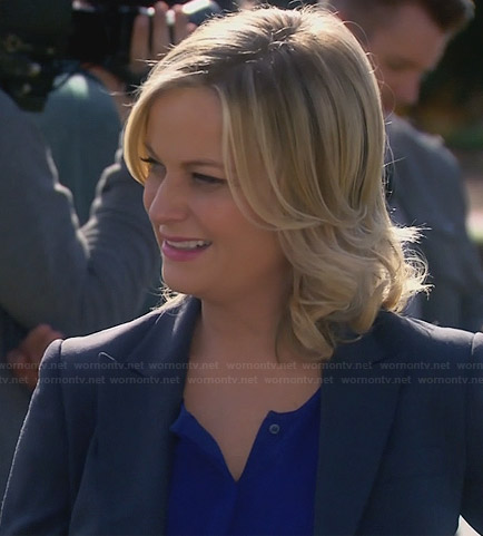 Leslie's blue split neck blouse on Parks and Rec