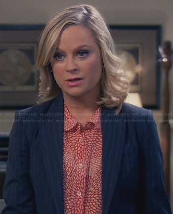 Leslie's red petal printed blouse on Parks and Recreation