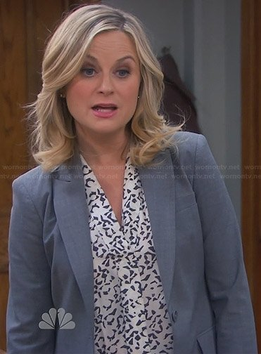 Leslie's white and black abstract printed blouse on Parks and Recreation