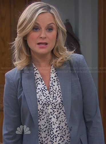 Leslie's white and black printed top on Parks & Rec