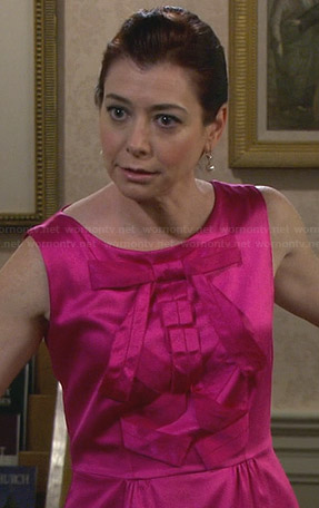 Lily's hot pink bow front dress on How I Met Your Mother