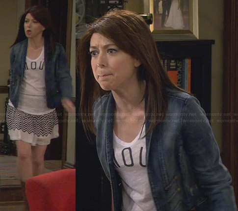 Lilly's striped skirt and denim jacket on HIMYM