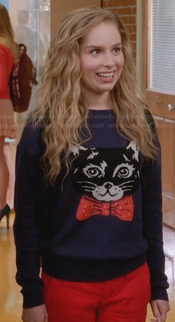 Lisa's cat with a bow tie sweater on Suburgatory