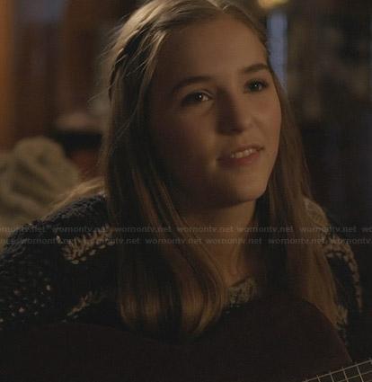 Maddie's striped knit sweater on Nashville