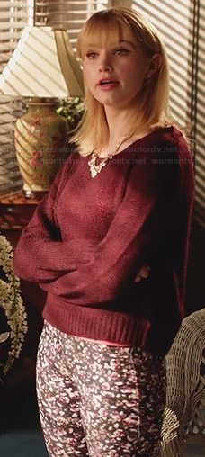Magnolia's burgundy knit sweater and floral jeans on Hart of Dixie