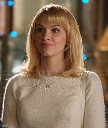 Magnolia's white pearl embellished sweater on Hart of Dixie