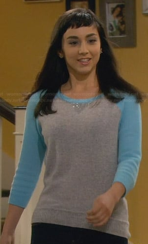 Mandy's grey and blue sequinned sweater on Last Man Standing