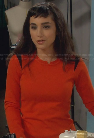 Mandy's orange sweater with black shoulder panels on Last Man Standing