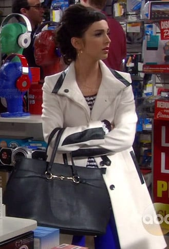 Mandy's white and black leather detail coat on Last Man Standing