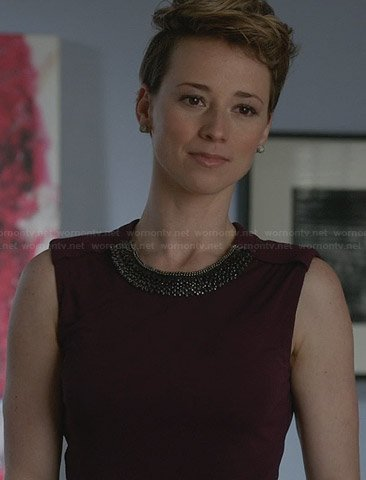 Margaux's purple dress with embellished neckline on Revenge
